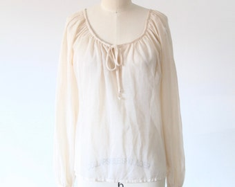 Sheer Beige Long Sleeve Top with Tie
