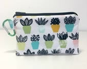 Small Succulents Coin Purse, Clip on Coin Pouch, Black and White Zip Pouch