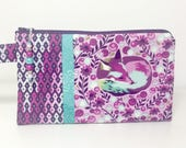 Fox Nap Wristlet, Purple and Teal Wristlet, With Beaded Zipper Pull