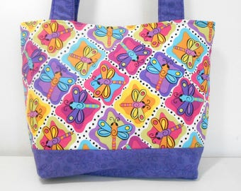 Dragonfly Purse, Medium Tote Bag, Purple Purse with Pockets