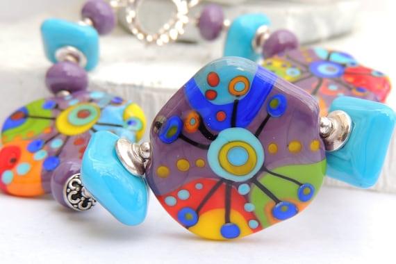 SALE ABSTRACT Palette SOOTHING Handmade Lampwork Bead Bracelet