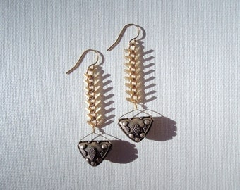 Thai Silver Gold Backbone Earrings