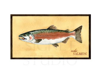 fine art giclee, fishing, Salmon, gifts, decor, men, Father's Day, dad, fish