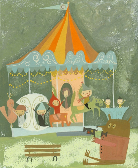 Rupert with his super 8 camera, captures Leonard and friends riding the merry go round in Central Park.  print by Matte Stephens.