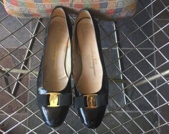 Salvatore Ferragamo black patent leather US women's 8 AAA