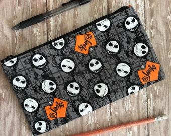 Jack Skellington Pencil Case Back To School Zipper Pouch School Supplies. Cosmetic Bag Organizer Bag Gift under 15