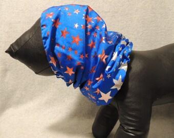 X Small - X Large Dog  Snood Blue w/ Stars