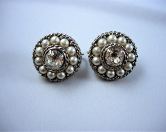 Pretty Pair of Vintage Sarah Coventry Rhinestone and Faux Pearl Earrings