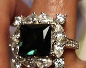 Huge Vintage Signed ESPO 925 Sterling Silver Emerald Green and Clear CZ Cluster Cocktail Dinner Ring Square Cut Size 6