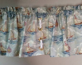 Sailing ship valance with grommet detail