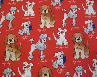 Dog Breeds on Red - Snuggle Cotton Flannel Fabric - BTY