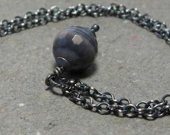 Botswana Agate Necklace Mocha Swirl Gemstone Pendant Brown, Gray Oxidized Sterling Silver Necklace