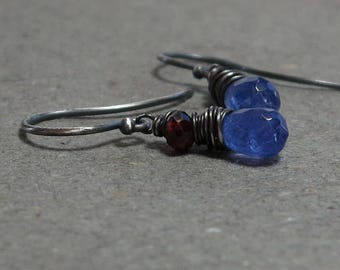 Tanzanite Earrings Pink Tourmaline Wire Wrapped Oxidized Sterling Silver Earrings Gift for Her