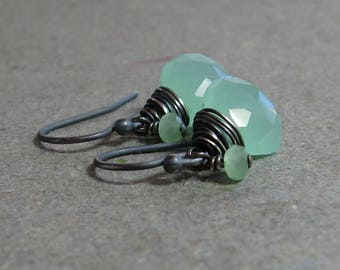 Light Green Chalcedony Earrings Oxidized Sterling Silver Petite Minimalist Mint Green