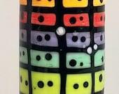 Rainbow Grid Barrel--Handmade Lampwork Bead