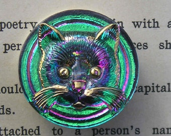 Really cute Czech glass Cat buttons..choose your color.