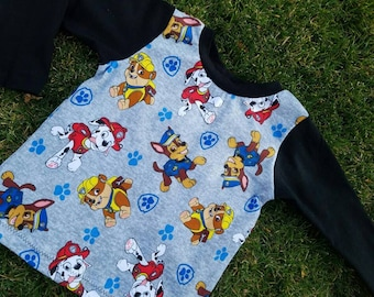 Handmade Toddler PAW PATROL licensed fabric shirt! Sizes 6 month to boys 5/6 available!  Red -  Blue- or black sleeves!