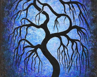 Canadian Art, BlueTree painting, Willow tree, original fine art, acrylic painting by Jordanka Yaretz
