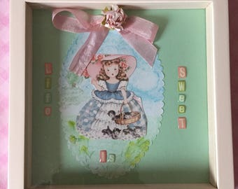 Adorable Vintage Style Shadow Box - vintage Girl- Kitties- shabby chic sweet!
