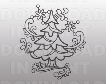Fancy Hand Drawn Doodle Christmas Tree SVG File -For Commercial & Personal Use- Vector Art for Cricut,Silhouette Cameo,Iron On vinyl Shirt