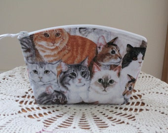 Purse Cosmetic Bag Zipper Essential Oils case Clutch Cats Kittens Kitties