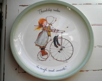 """Vintage Holly Hobbie Decorative Plate Wall Hanging Art - Collectible Retro Dish """"Friendship Makes The Rough Road Smooth"""" Holly Hobbie Gift"""