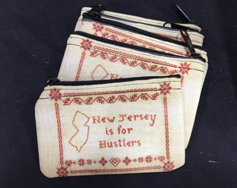 New Jersey is for Hustlers Cross Stitch Zippered Coin Purse