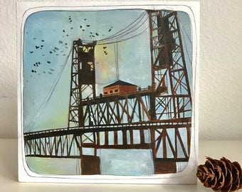 Steel Bridge Oil Painting - Portland Oregon Painting - Original Art - Original Painting - Steel Bridge Art - Steel Bridge