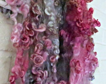Cotswold Wool Curls - Hand Dyed Fleece - Pink, Gray, Brown Locks - Ghost Of A Rose