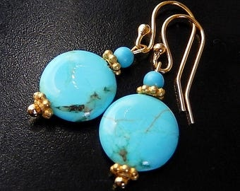 Turquoise, Gold Earrings, Vermeil, Blue Howlite Coin Earrings