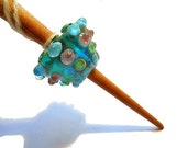 Aqua Handmade bead spindle, glass cone whorl, cherry supported spindle, Medieval inspired handspinning, light weight spinning
