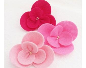 Large Wool Blend Felt Flowers - Pink Ombre Set