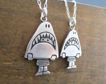 Mother Daughter Shark Girl Necklace Set - Set of Two Sterling Silver Shark Necklaces