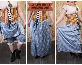 Sky Floral Stretch Drawstring Skirt