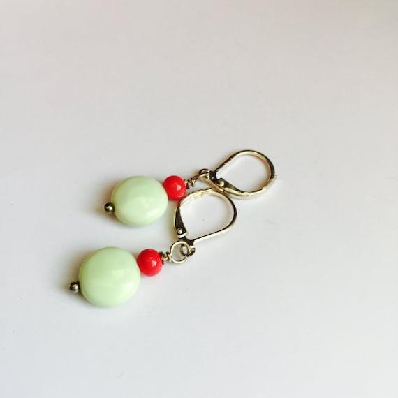Lemon Chrysoprase and Glass Dangle Earrings