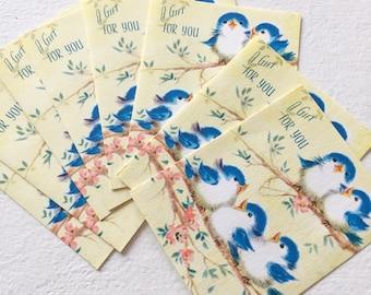 Vintage Bluebird Gift Tags Blanks Paper Ephemera Greeting Card