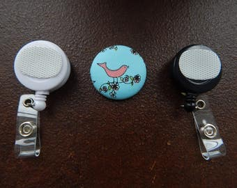 Fabric Covered Button for Clip on Retractable Badge Reel - Bird