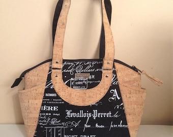 Cork Shoulder Bag, Black Upholstery Purse, Black Bag, Medium Shoulder Bag, Handmade Bag, Black Script Purse, Fabric and Cork Bag