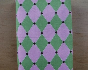 Harlequin Diamond Book Cover, Trade Size Paperback Cover, Soft Cover Sleeve, Cotton Book Cover, Bookworm , Reading, Reader Gift, Pink Green