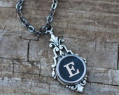 Letter E Necklace , Vintage Typewriter Key Initial, Grandma Gift Idea