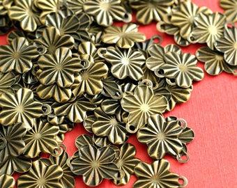 100pcs Flower Antique Bronze Charms  Nickel Free E267Y-NFAB