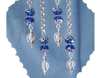 Royal Blue & Silver Drop Dangle Earrings Long Steel Chain Steampunk Bohemian Boho Gypsy Fun Fashion Statement Bali Mother's Day Jewelry Gift