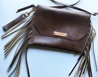 Leather Fringe Clutch with strap option
