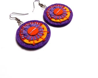 AZTEC TEXTILE EARRINGS - Felt with hand embroidery