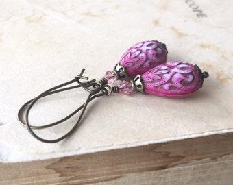 Vintage blush teardrop earrings