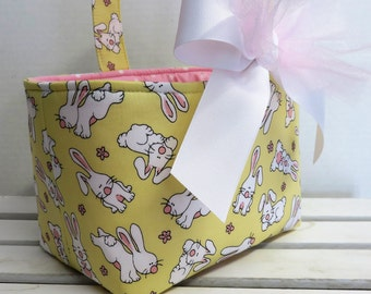 SALE CLEARANCE - Ready to Ship - Easter Fabric Candy Basket Storage Container Bin - Sweet Bunnies on Yellow