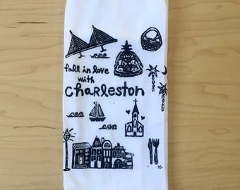 "fall in love with Charleston - 100% cotton hand printed flour sack towel - 29"" square"