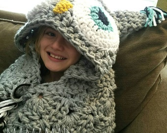 Hooded Owl Blanket - Crochet - Made to Order - Choose Size