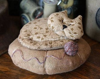 Primitive Napping Kitty Pincushion Digital PDF Pattern