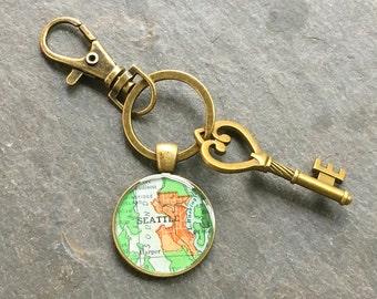 Seattle Keychain Bronze with Ring Swivel Clasp and Key Vintage  Washington Map